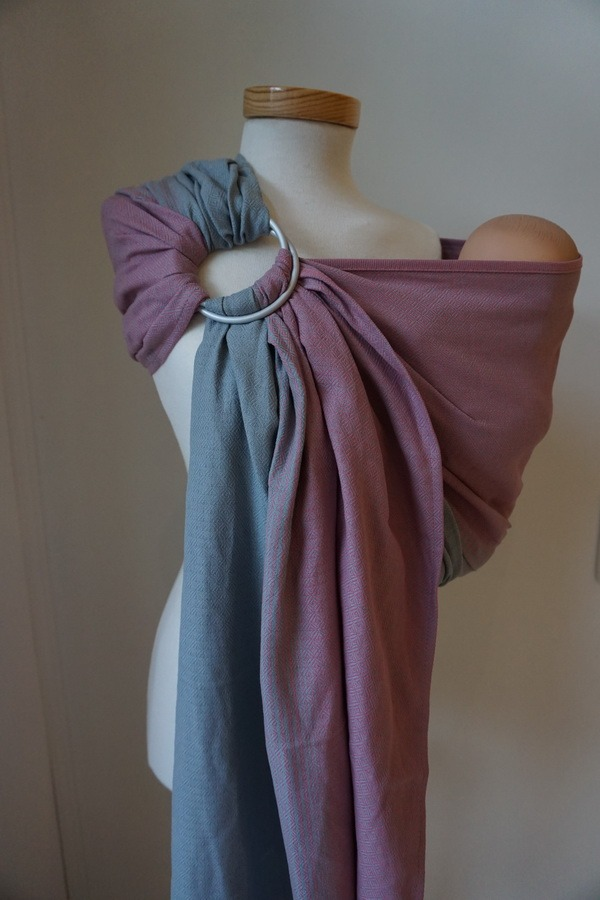 Storchenwiege® sling z obročki Leo roza-siv 1