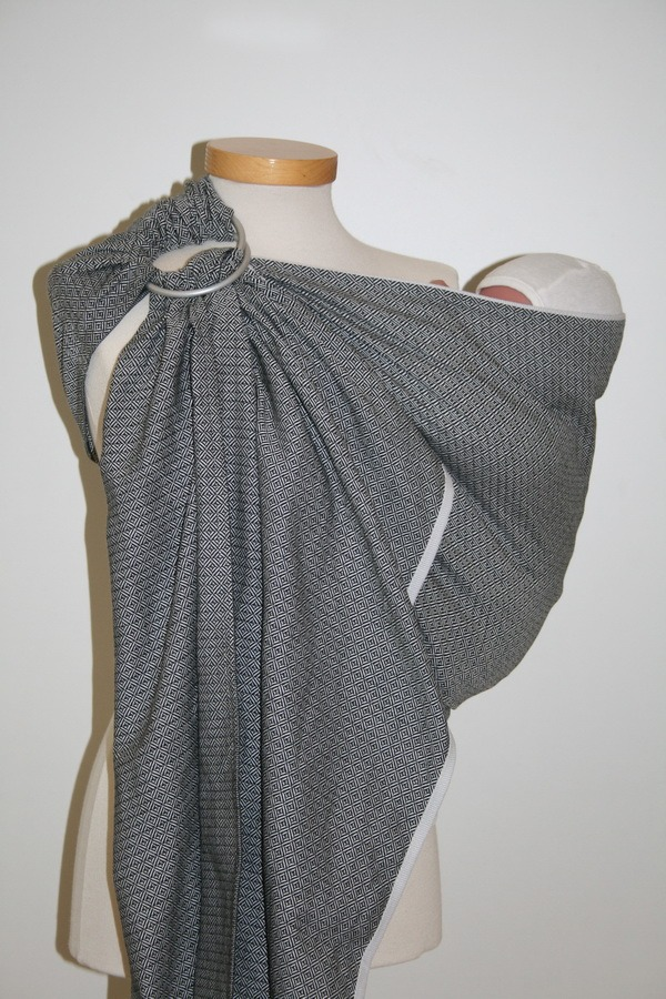 Storchenwiege® sling z obročki Leo črno-bel 1