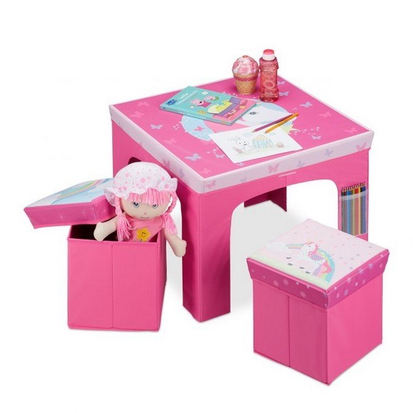 Komplet mizica in 2 stolčka, samorog