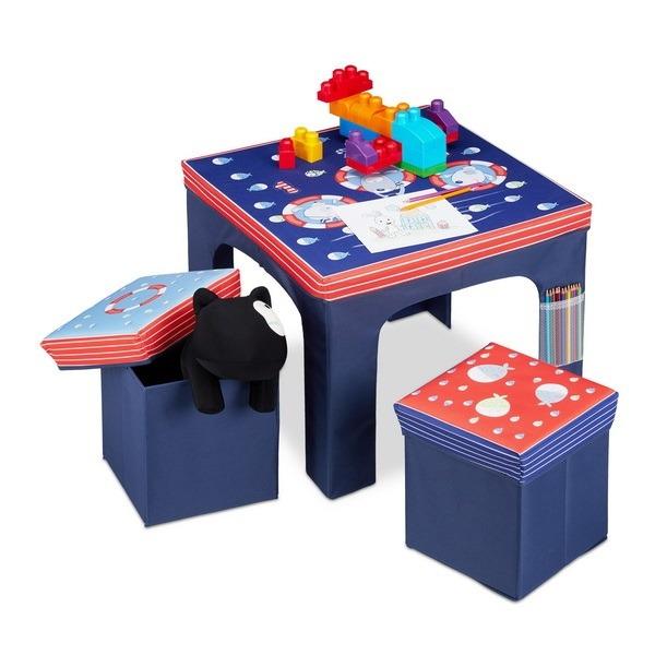 Komplet mizica in 2 stolčka, morski prijateljčki