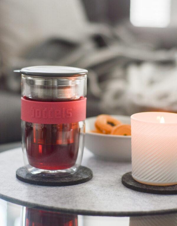 Kozarec za čaj, 380 ml, roza