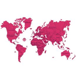 3D Zemljevid sveta, 110-delni komplet, XXL, roza