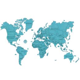 3D Zemljevid sveta, 110-delni komplet, XXL, turkizni