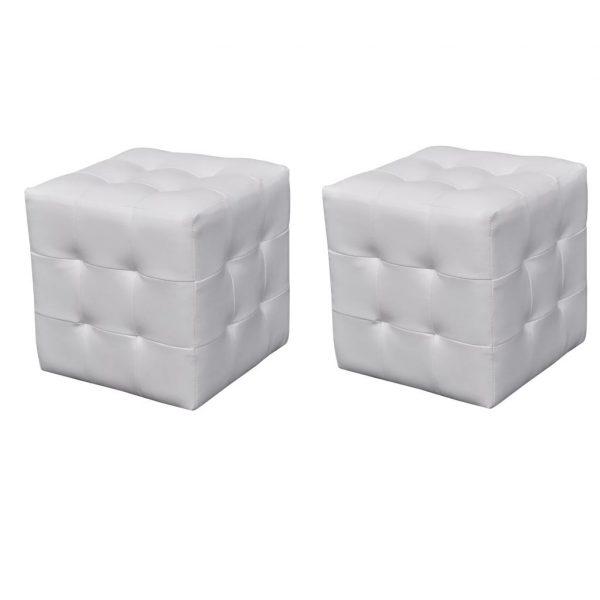 2 x Kocka / Stolček za Sedenje Bele Barve
